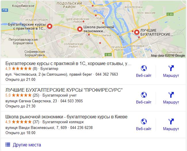 Блок результатов поиска Google Maps