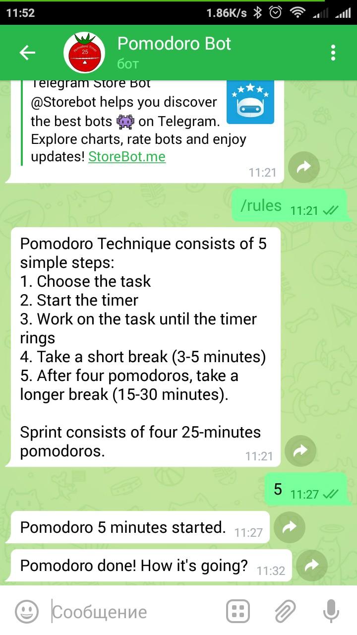 PomodoroBot для Telegram