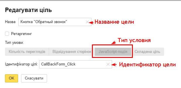 Выбор цели в Яндекс.Метрике