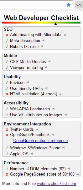 Расширение Web Developer Checklist для Chrome