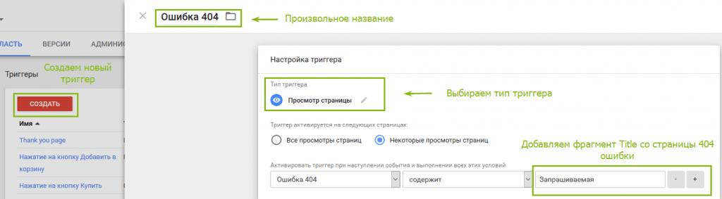 Створення нового тригера в Google Tag Manager