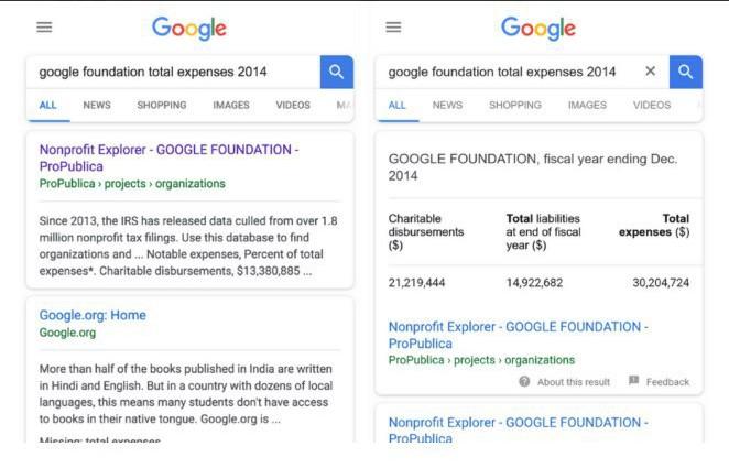 Пример обновленной разметки Google