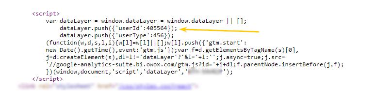 Строка для кода Google Tag manager в секции<head>