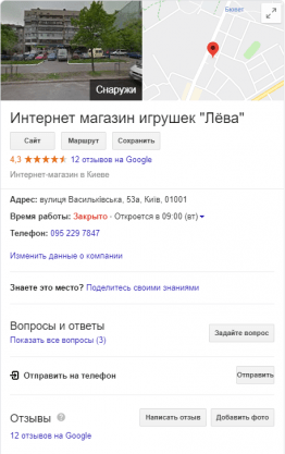 Работа с профилем Google My Business