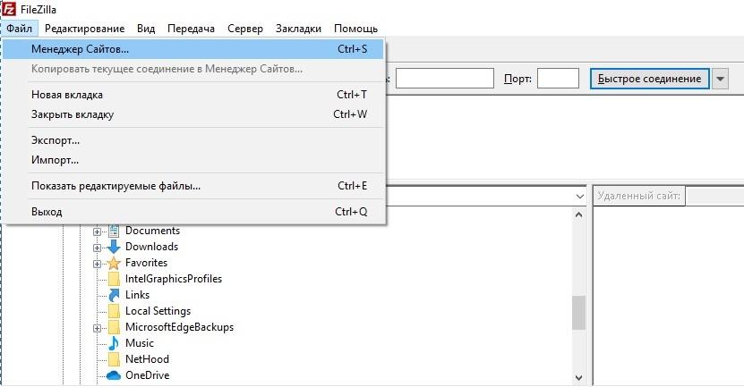 Открываем программу FilleZilla, переходим в Менеджер Сайтов