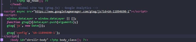 Размещаем кода в head своей страницы