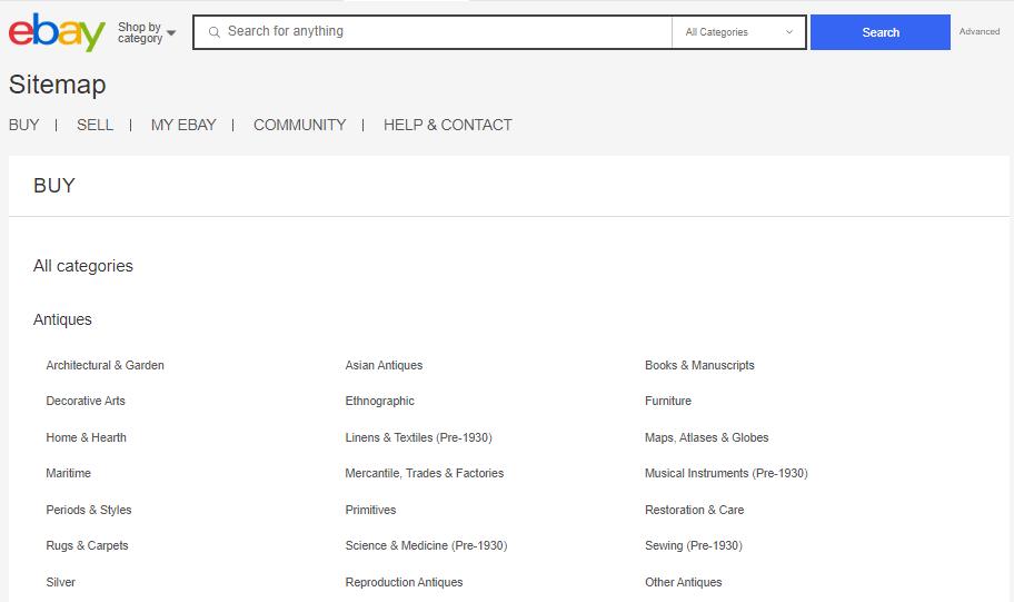Пример лаконичной HTML-карты сайта