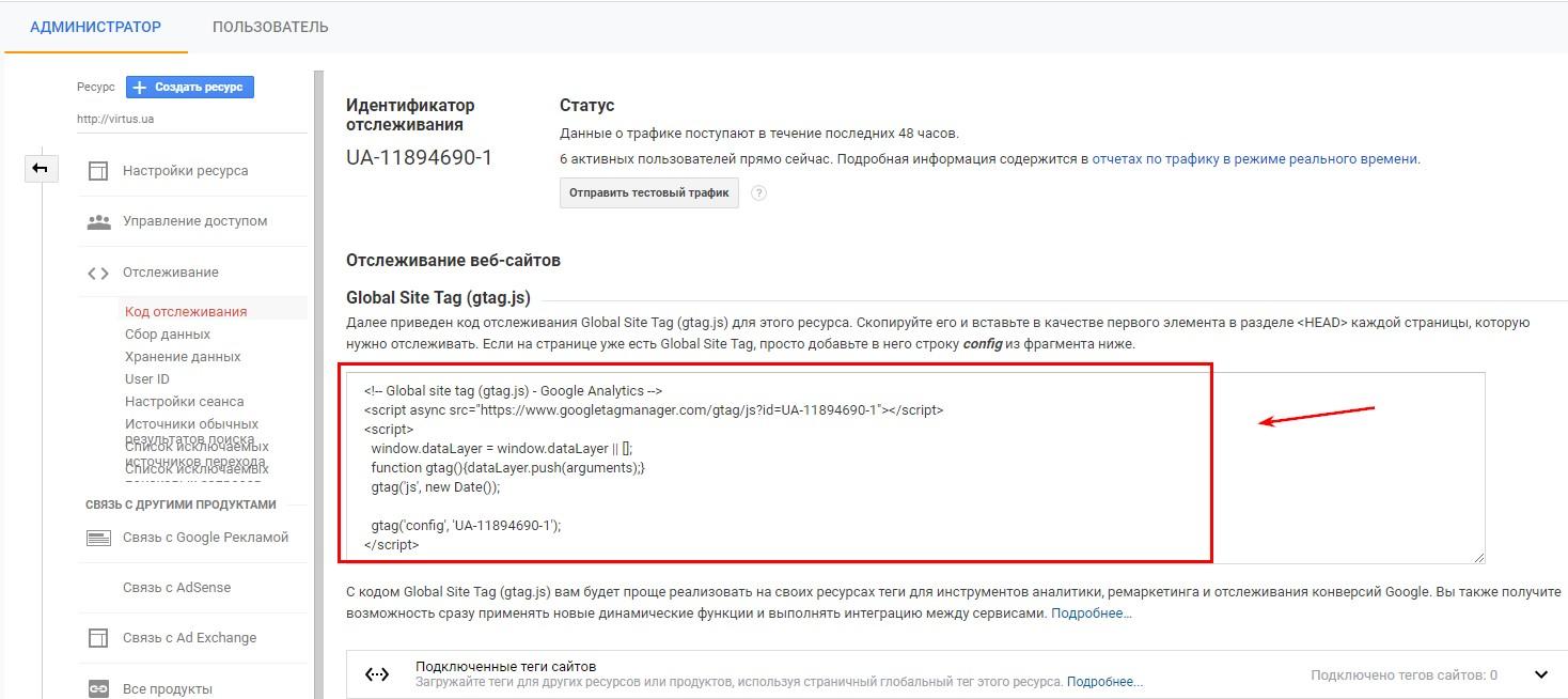 Идентификатор отслеживания в Google Analytics