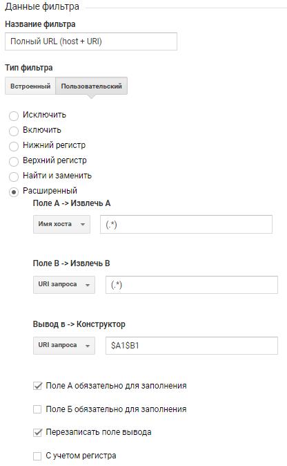 Корректировка трафика на полный URL