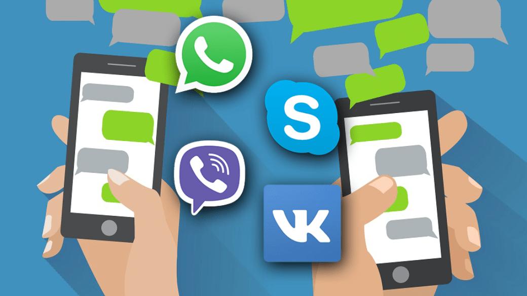 Картинка мобильных приложений для обмена информации и общения