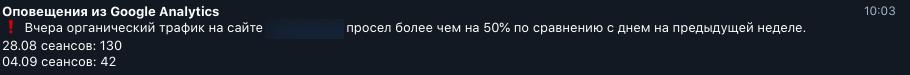 уведомление в Telegram.