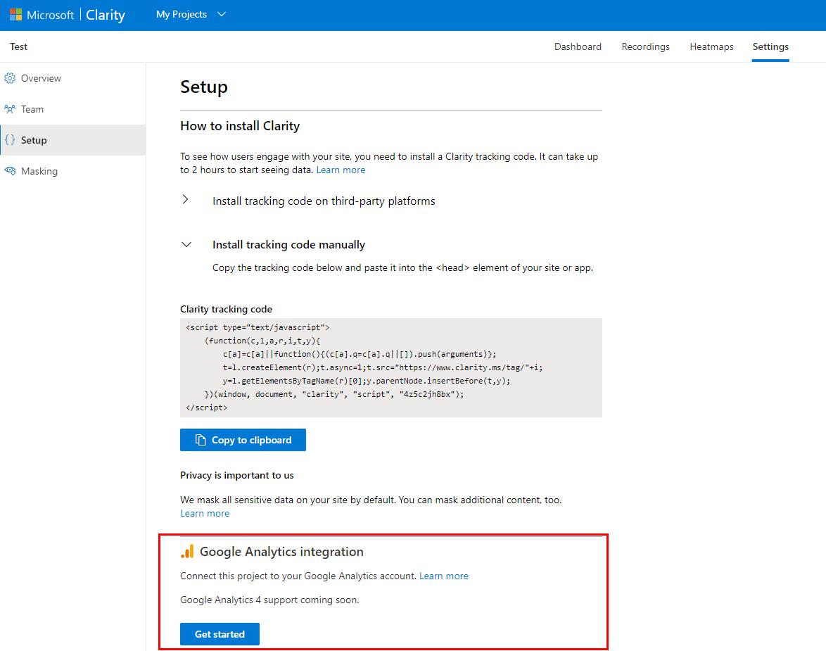 Подключение рабочего акаунта Google Analytics к сервису Microsoft Clarity