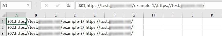 CSV файл, который содержит редиректы