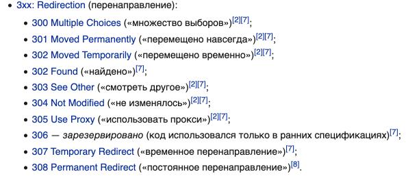 Виды кодов, которые осуществляют перенаправление