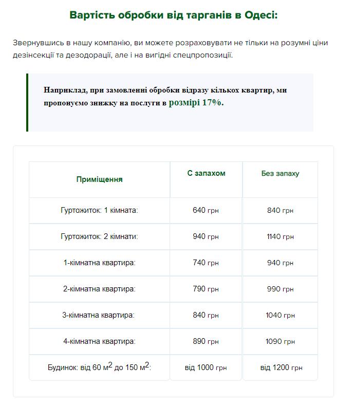 Таблица с ценами на услуги службы дезинфекции Ликвидатор